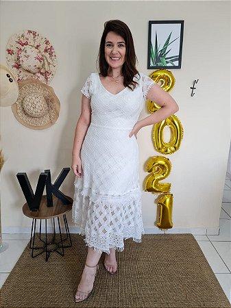Vestido Fascinius Kate Branco 14958 Moda Evangélica