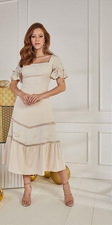 Vestido Fascinius Nara Nude 14808 - Moda Evangélica