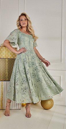 Vestido Fascíniu's Alana Verde 15021Moda Evangélica