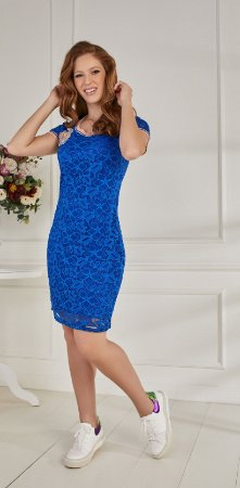 Vestido Fascíniu's Karen Azul 15460 Moda Evangélica