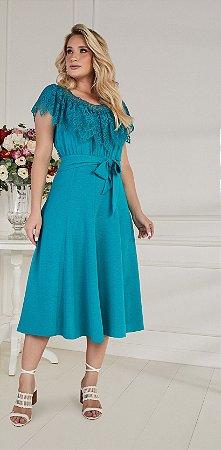 Vestido Fascíniu's Jordana 15307 Verde Moda Evangélica