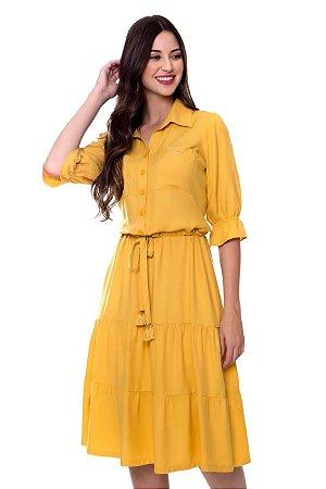 Vestido Leticia Amarelo Hapuk 60637 - Moda Evangélica