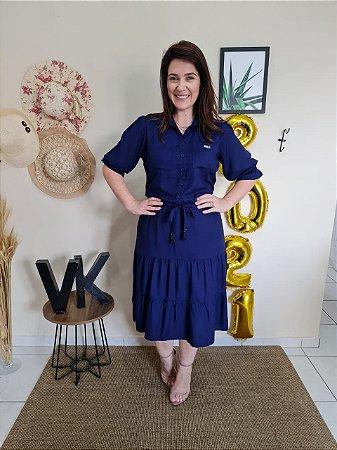 Vestido Leticia Azul Marinho Hapuk 60637 - Moda Evangélica