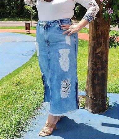 Saia Evasê Jeans Titanium 5458