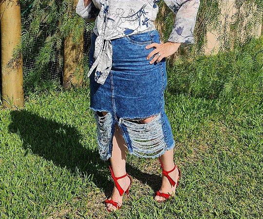 Saia Tradicional Jeans Titanium 5513