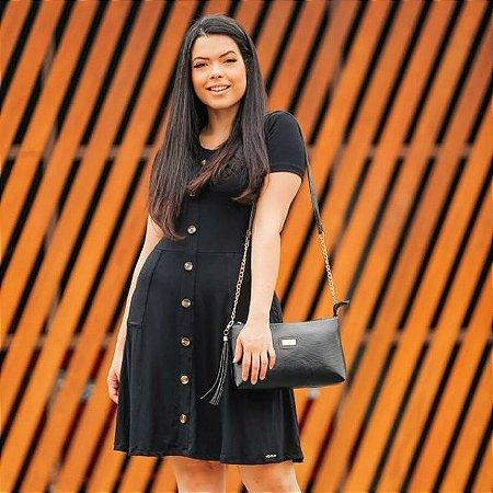 Vestido Preto com Det. de Botões Frontal 9003 - Olga Lima