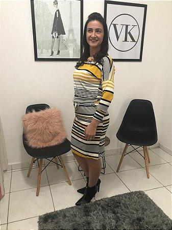 Vestido de Malha Listrado com Amarelo e Cinza - BoutiqueK