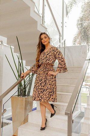 Vestido Estampa Animal Print Maringá Bege 151 - Valentina Sirrah