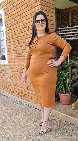 Vestido em Neoprene Tubinho Caramelo 125 - Valentina Sirrah