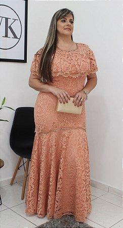 Vestido de Madrinha Modelo Sereia em Renda Salmão 13546 - Fasciniu's