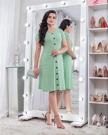 Vestido em Malha com Botões Fake Frontal e Bolso na Saia Verde Menta 9056 - Olga Lima