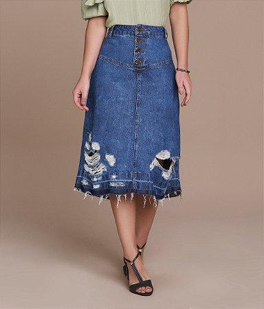 Saia Evase Jeans 75cm  5336 - Titanium