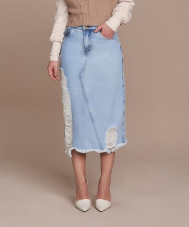 Saia Evase Jeans 72cm 5560 - Titanium