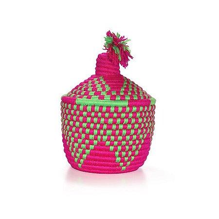 Moroccan Basket Green Pink   25x19cm