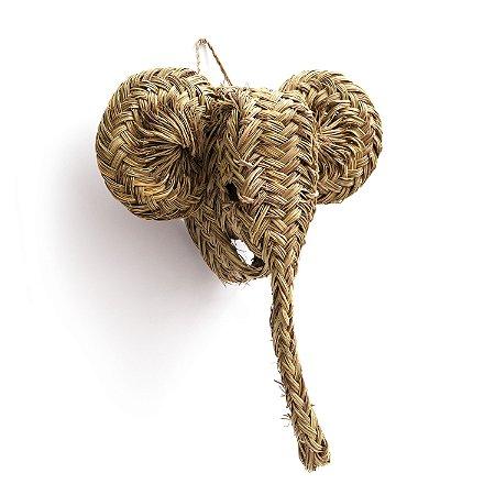 TÊTE D'ELEPHANT em Rafia | 45x32x12 cm