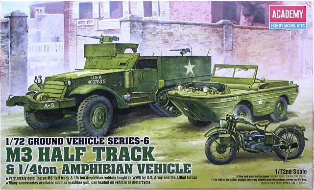 Academy - Ground Vehicle Series-6 M3 Half Track & 1/4ton Amphibian Vehicle - 1/72