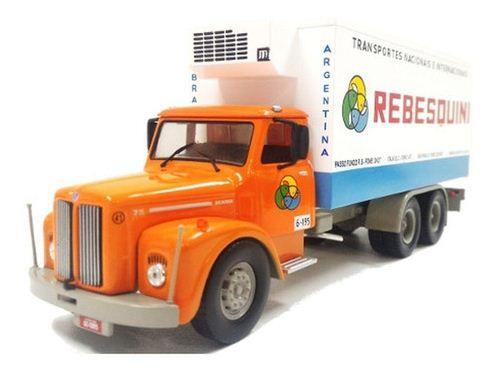 Ixo - Caminhão Scania L75 Jacaré - Transportes Rebesquini - 1/43