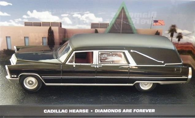 Coleção James Bond 007 Eaglemoss - Carro Funerário Cadillac Hearse - 007: Os Diamantes São Eternos - 1/43