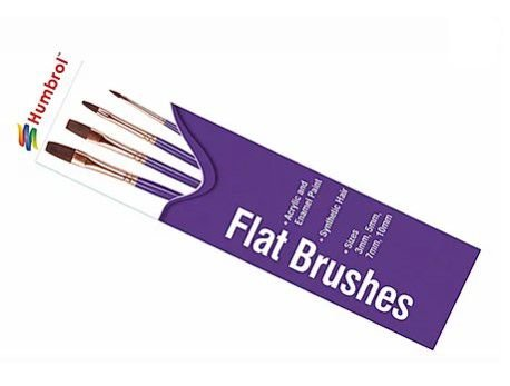 HUMBROL - FLAT BRUSH PACK - CONJ. 4 PINCEIS CHATOS (3mm 5mm 7mm 10mm)