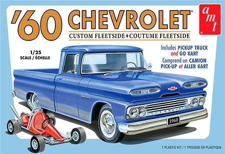 Picape Chevy Custom Fleetside 1960 com Go Kart 2T - 1/25
