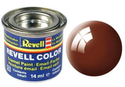 Tinta Revell para plastimodelismo - Esmalte sintético - Marrom lama brilhante - RAL 8003 - 14ml