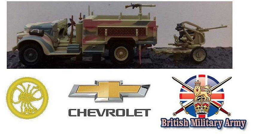 Coleção Blindados de Combate Planeta deAgostini - Chevrolet 1533X2 30 CWT + Breda Model 35 20mm Anti-Aircraft Gun Long Range Desert Group Libya 1942 - 1/72