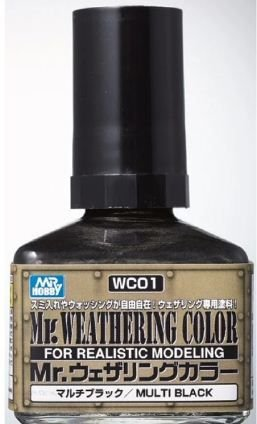 Gunze - Mr. Weathering Color WC01 - Multi Black (Wash com base Óleo) - 40ml