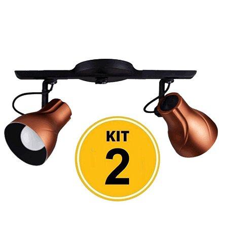 Kit c/ 2 Spot Trilho Direcionável Octa 2 Plus Cobre - Startec