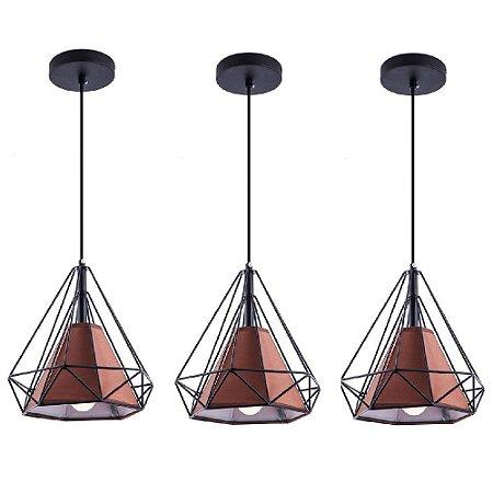 Kit c/ 3 Pendente Aramado Piramidal Preto c/ Tecido Café 25cm Design Estilo Industrial  - Startec