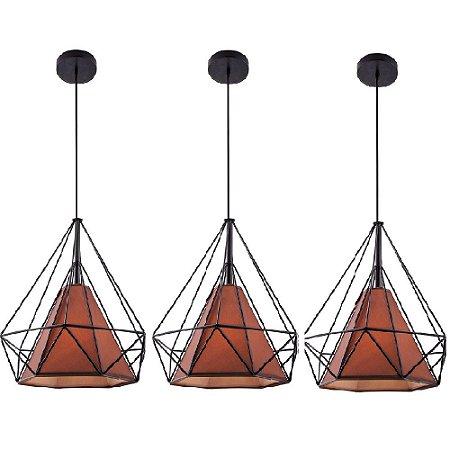 Kit c/ 3 Pendente Aramado Piramidal Preto c/ Tecido Café 38cm Design Estilo Industrial  - Startec