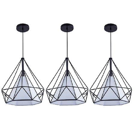 Kit c/ 3 Pendente Aramado Piramidal Preto c/ Tecido Branco 38cm Design Estilo Industrial  - Startec
