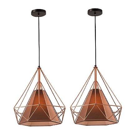 Kit c/ 2 Pendente Aramado Piramidal Cobre/Rose Gold c/ Tecido Café 38cm Design Estilo Industrial  - Startec
