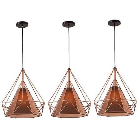 Kit c/ 3 Pendente Aramado Piramidal Cobre/Rose Gold c/ Tecido Café 38cm Design Estilo Industrial  - Startec