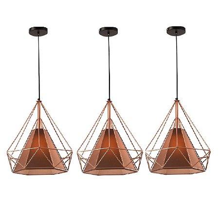 Kit c/ 3 Pendente Aramado Piramidal Cobre/Rose Gold c/ Tecido Café 25cm Design Estilo Industrial  - Startec