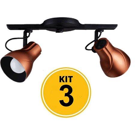 Kit c/ 3 Spot Trilho Direcionável Octa 2 Plus Cobre - Startec