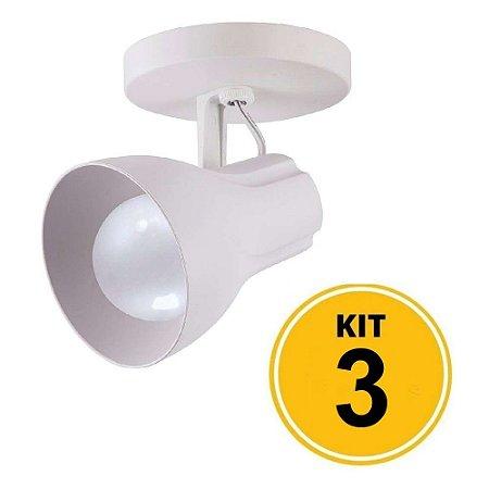 Kit c/ 3 Spot Sobrepor Direcionável Octa Plus Branco