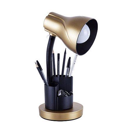 Luminária de Mesa Escritório Estudo Spiralle Porta Lápis Caneta Dourada