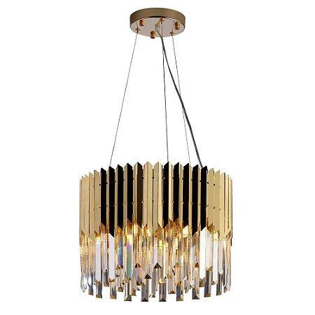 Lustre/Pendente Redondo Cristal Legítimo Baluarte Dourado 40cm Design Moderno Quarto/Sala - Startec