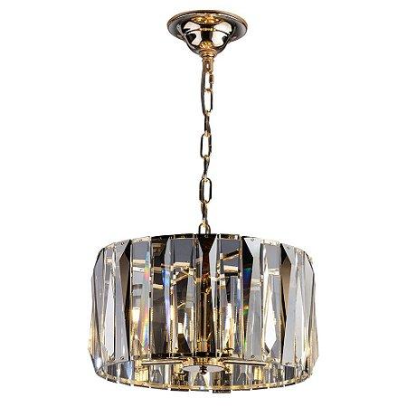 Lustre Redondo de Cristal Legítimo Filadelfia Dourado 50cm - Startec