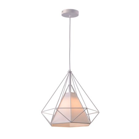 Pendente Aramado Piramidal Branco c/ Tecido 25cm Design Estilo Industrial  - Startec