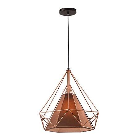 Pendente Aramado Piramidal Cobre/Rose Gold c/ Tecido Café 25cm Design Estilo Industrial  - Startec
