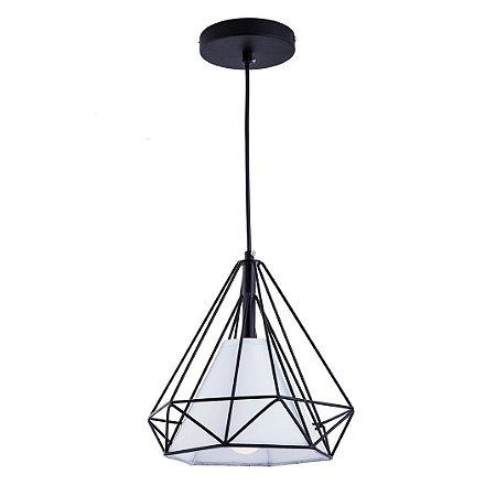 Pendente Aramado Piramidal Preto c/Tecido Branco 25cm Design Estilo Industrial  - Startec