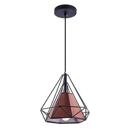 Pendente Aramado Piramidal Preto c/ Tecido Café 25cm Design Estilo Industrial  - Startec