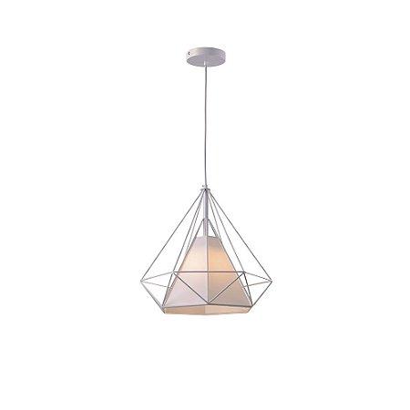 Pendente Aramado Piramidal Branco c/ Tecido 38cm Design Estilo Industrial  - Startec