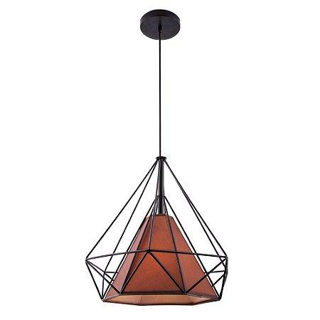 Pendente Aramado Piramidal Preto c/ Tecido Café 38cm Design Estilo Industrial  - Startec