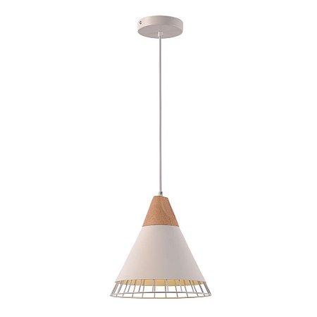 Pendente Aramado Wood Branco c/ Detalhe em Madeira Design Estilo Industrial  - Startec