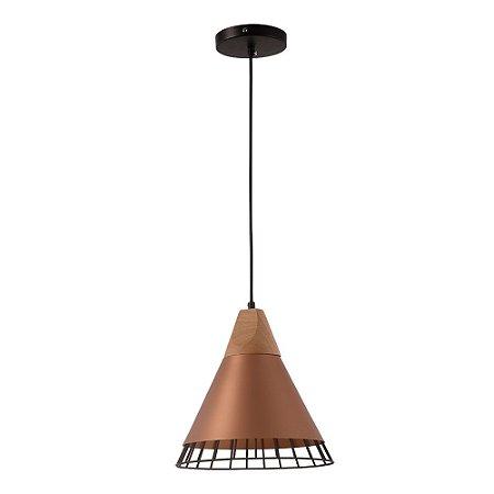 Pendente Aramado Wood Cobre/Rose Gold Detalhe em Madeira Design Estilo Industrial  - Startec