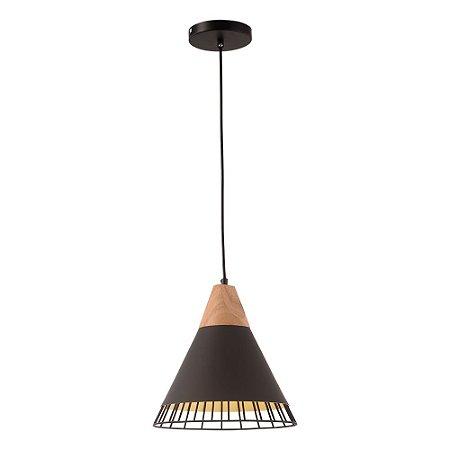 Pendente Aramado Wood Preto c/ Detalhe em Madeira Design Estilo Industrial  - Startec