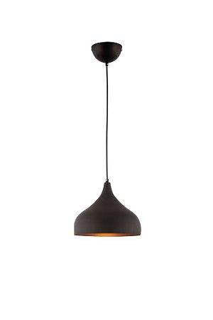 Lustre/Pendente Mini Gota Preto c/ Cobre E27- Estilo Industrial Moderno
