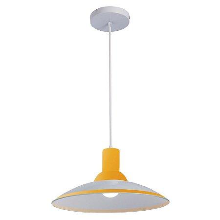 Lustre/Pendente Chapéu em Vidro Ice Amarelo 30cm Design Moderno - Startec